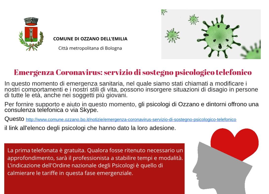 Emergenza Coronavirus Servizio Di Sostegno Psicologico Telefonico Comune Di Ozzano Dell Emilia